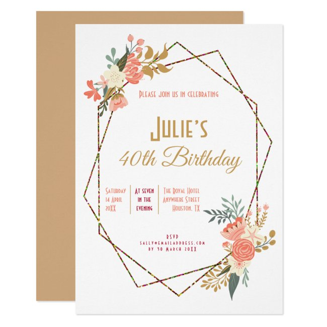 Ambrose Coral Floral Geometric Frame 40th Birthday Invitation
