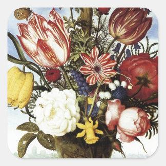 Ambrosius Bosschaert Bouquet Of Flowers Square Sticker