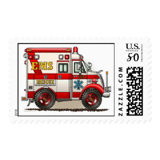 Ambulance Box Truck EMS Postage Stamp