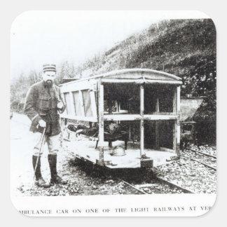 Ambulance Car on One of the Light Railways Square Sticker