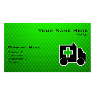 Ambulance; Green Double-Sided Standard Business Cards (Pack Of 100)