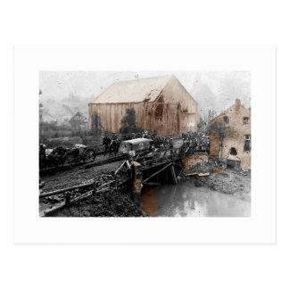 Ambulance Truck on Bridge WWI Postcard