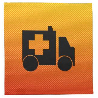 Ambulancia amarillo-naranja servilletas imprimidas