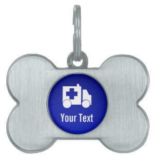 Ambulancia azul placas de mascota