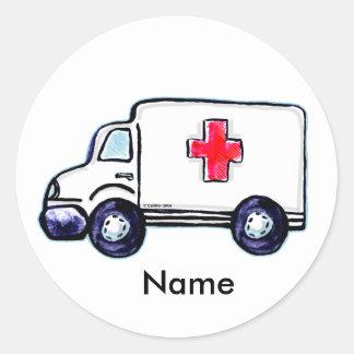 Ambulancia clásica etiquetas redondas