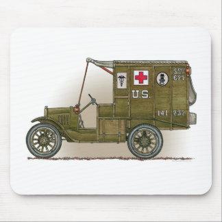 Ambulancia de los militares del vintage tapete de ratón