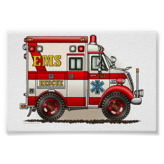 Ambulancia del camión de la caja póster