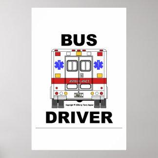 Ambulancia del ccsme, conductor del autobús, poste póster