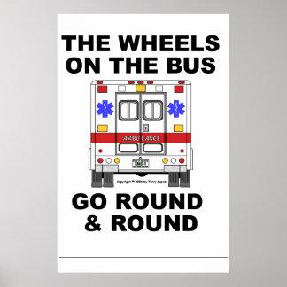 Ambulancia del ccsme - las ruedas van ronda, poste poster