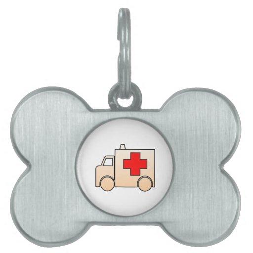 Ambulancia del dibujo animado placas de nombre de mascota