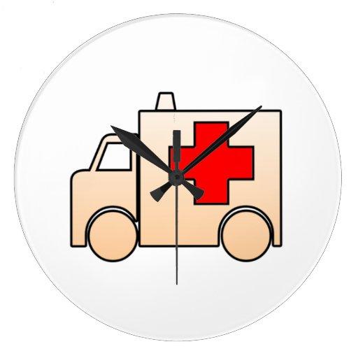 Ambulancia del dibujo animado reloj de pared