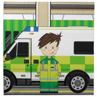Ambulancia del dibujo animado y EMT