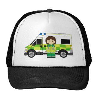 Ambulancia del dibujo animado y EMT Gorra