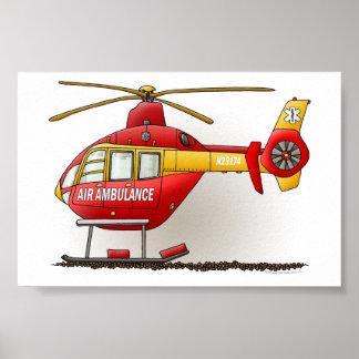 Ambulancia del helicóptero póster