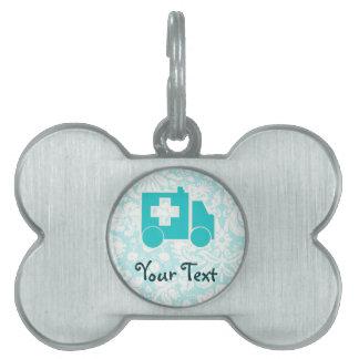 Ambulancia del trullo placa de mascota