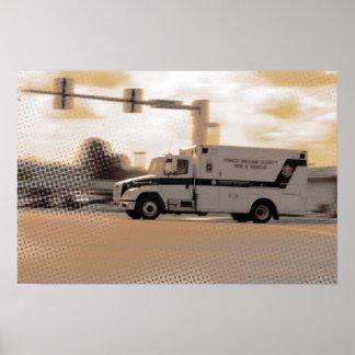 Ambulancia en colores pastel C Póster