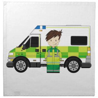 Ambulancia linda del dibujo animado y EMT