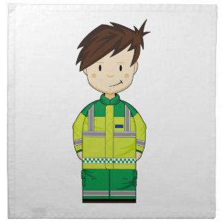 Ambulancia linda EMT del dibujo animado