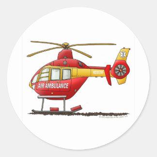Ambulancia médica del helicóptero del rescate del pegatina redonda
