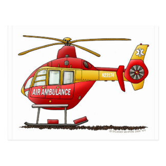 Ambulancia médica del helicóptero del rescate del postales