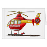 Ambulancia médica del helicóptero del rescate del  tarjeta de felicitación