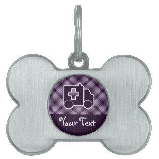 Ambulancia púrpura placas mascota