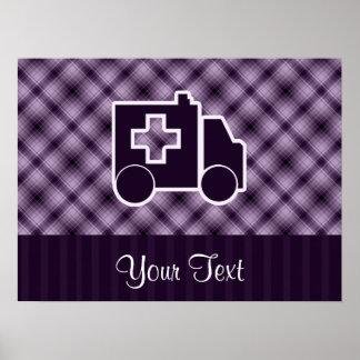 Ambulancia púrpura impresiones