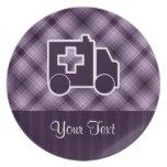 Ambulancia púrpura platos para fiestas