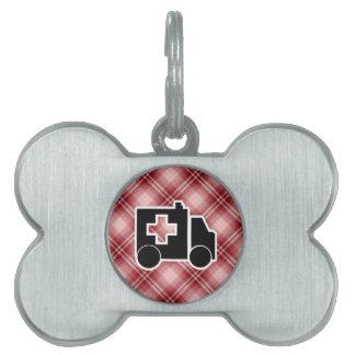 Ambulancia roja de la tela escocesa placas de nombre de mascota