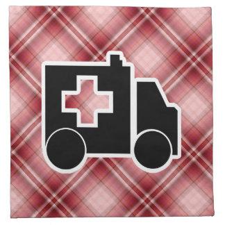 Ambulancia roja de la tela escocesa servilletas de papel