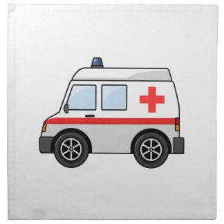 Ambulancia roja y blanca del dibujo animado servilleta imprimida
