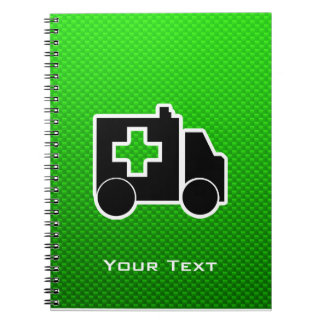 Ambulancia; Verde Libros De Apuntes Con Espiral