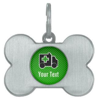 Ambulancia; Verde Placa De Nombre De Mascota
