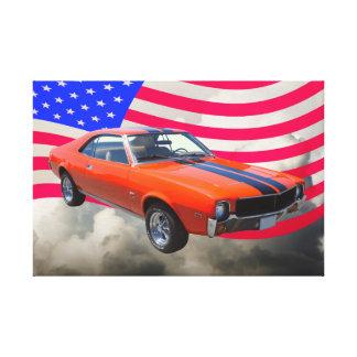 AMC Javlin Car With American Flag Canvas Print