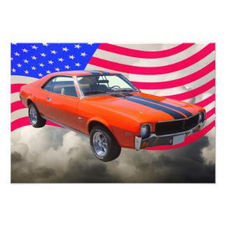 AMC Javlin Car With American Flag Photo Art