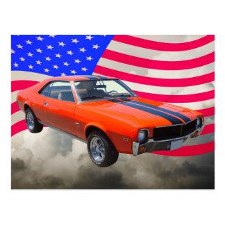 AMC Javlin Car With American Flag Postcard