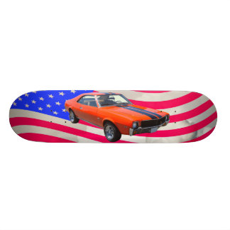 AMC Javlin Car With American Flag Skateboard Deck