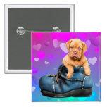 Ame a Heart Dogue de Bordeaux Puppy en una bota Pin Cuadrado