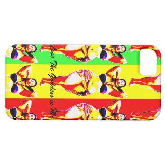 Ame a la diosa en mí caja elegante colorida del iPhone 5 protectores