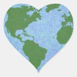 Ame a los pegatinas de la tierra pegatina en forma de corazón