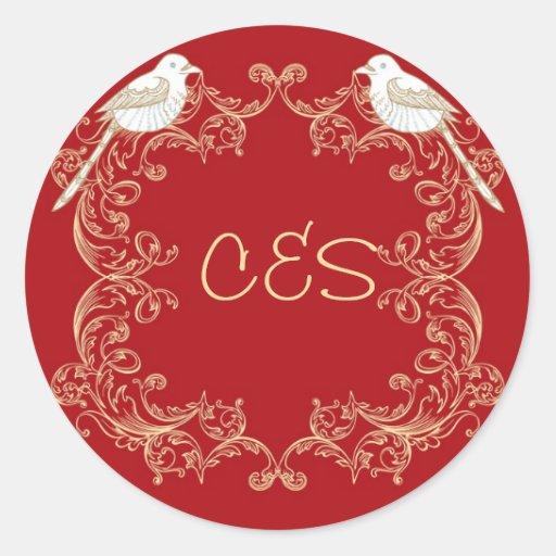Ame a los pegatinas del sobre del boda del pegatina redonda