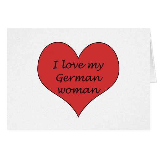 Ame a mi mujer alemana tarjeta de felicitación