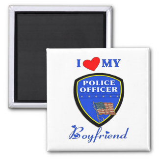 Ame a mi novio de la policía imán para frigorífico