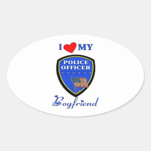 Ame a mi novio de la policía pegatina ovalada