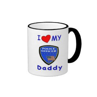 Ame a mi papá de la policía taza de dos colores