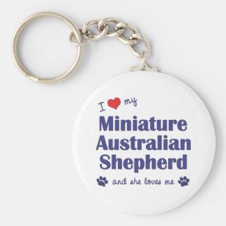 Ame a mi pastor australiano miniatura (el perro fe llavero redondo tipo pin