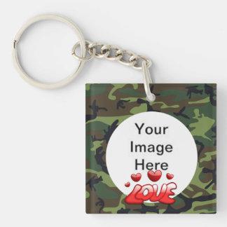 Ame a mi soldado con la imagen llavero cuadrado acrílico a doble cara