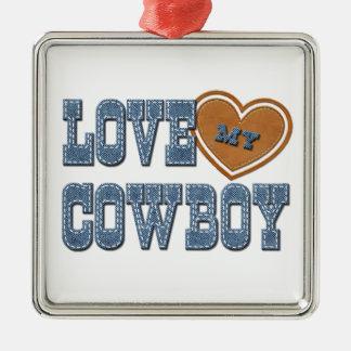 Ame a mi vaquero adorno navideño cuadrado de metal