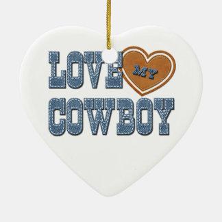 Ame a mi vaquero adorno navideño de cerámica en forma de corazón