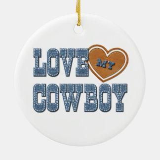 Ame a mi vaquero adorno navideño redondo de cerámica